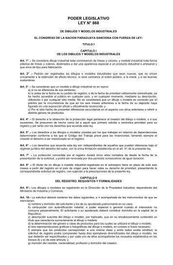 Ley 868-1881 Dibujos y Modelos Industriales - Poder Judicial