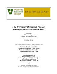 The Vermont Biodiesel Project - Vermont Sustainable Jobs Fund