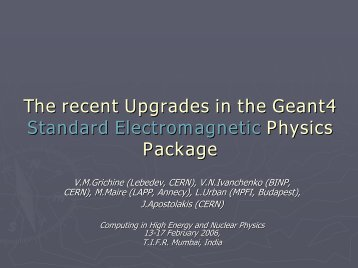 HADI: Development of components of the Geant4 toolkit for ... - CERN