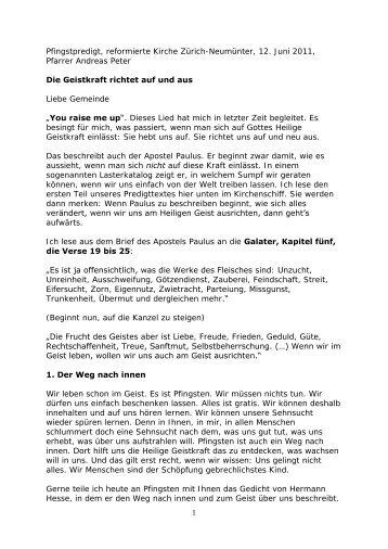 1 Pfingstpredigt, reformierte Kirche Zürich-Neumünter, 12. Juni 2011 ...