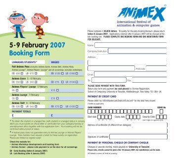 Booking and monitoring forms (pdf) - Animex