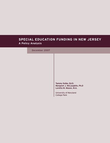 Special Education Funding in New Jersey: A Policy Analysis