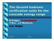 The Geant4 hadronic verification suite for the cascade energy range