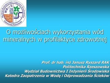 O możliwościach wykorzystania wód mineralnych w profilaktyce ...