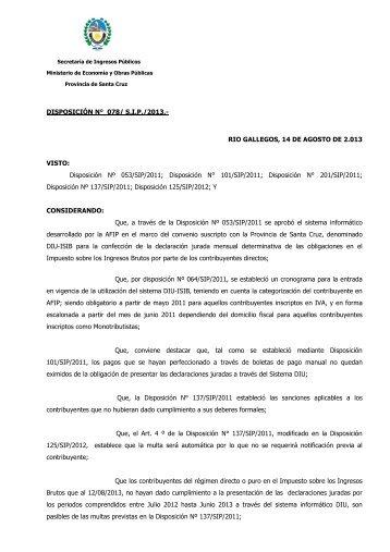 Año 2013. Disposición 078-SIP-2013.Procedimiento ... - Santa Cruz