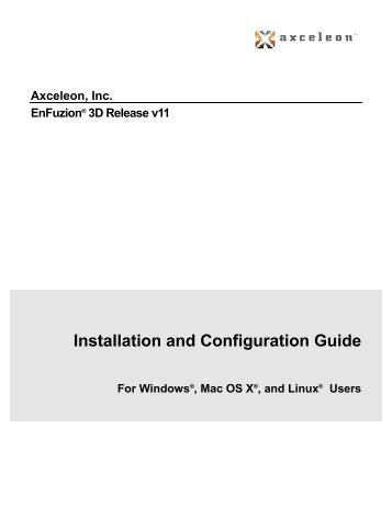 Installation and Configuration Guide - Axceleon