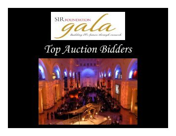 Top Auction Bidders - SIR Foundation