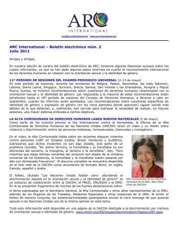 ARC International – Boletín electrónico núm. 2 Julio 2011