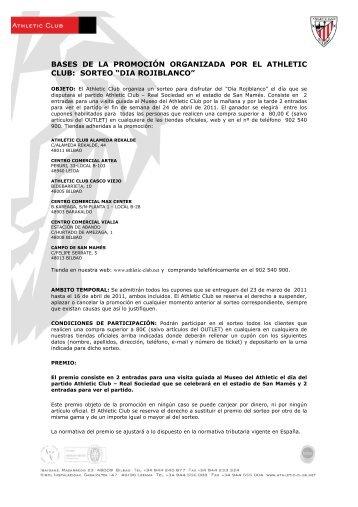 BASES SORTEO DIA ROJIBLANCO marzo 2011 - Athletic Club