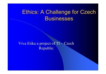 Ethics: A Challenge for Czech Businesses