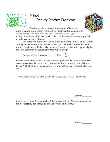 Density mass volume practice problems nichols school density practice problems ibookread