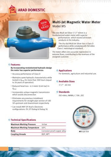Multi-Jet Magnetic Water Meter ARAD DOMESTIC - Netafim