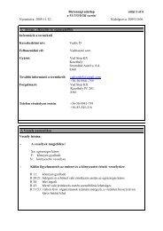 Biztonsági adatlap oldal 1 of 6 a 91/155/EGK szerint Nyomtatva ...