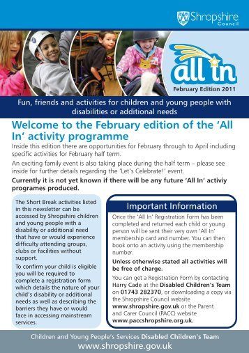 In' newsletter - Shropshire Disability Network