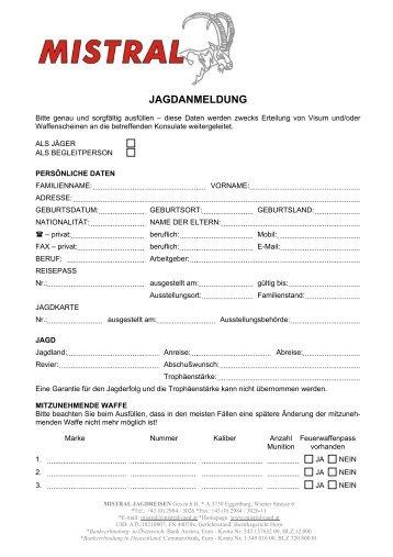 JAGDANMELDUNG - MISTRAL Jagdreisen Ges.mbH