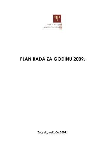 PLAN RADA ZA GODINU 2009 - NSK - Nacionalna i sveučilišna ...