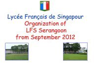 Lycée Français de Singapour Organization of LFS Serangoon from ...