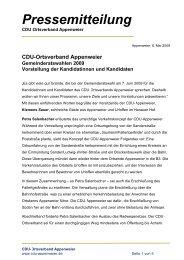 Pressemitteilung - CDU-Appenweier