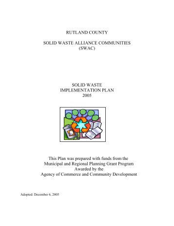 Solid Waste Implementation Plans for - Town of Rutland, Vermont