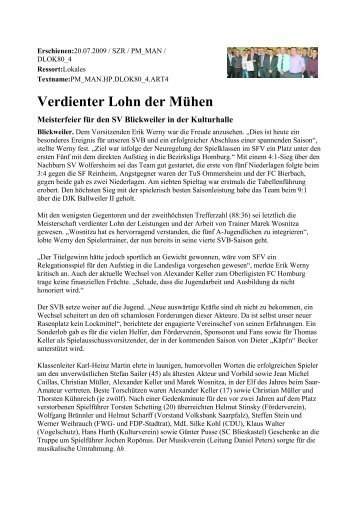 Verdienter Lohn der Mühen - FW/FWG Freie Wähler Landesverband ...