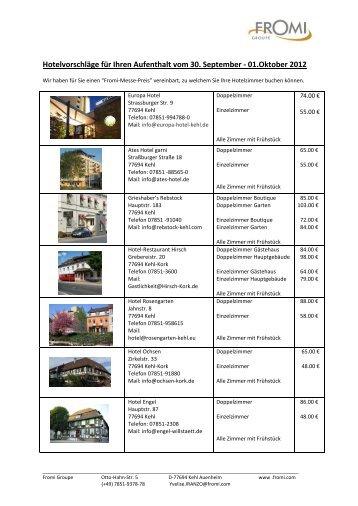 Hotelvorschläge für Ihren Aufenthalt vom 30 ... - Groupe Fromi