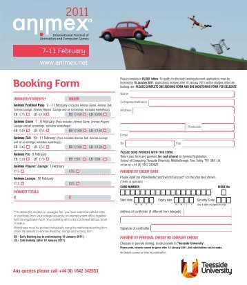 Download the booking form (pdf) - Animex - Teesside University