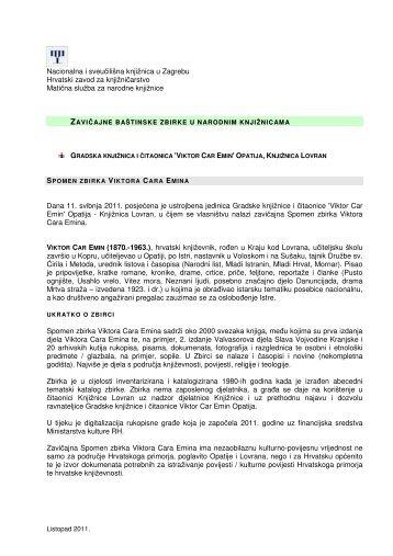 Baštinske zavičajne zbirke - Nacionalna i sveučilišna knjižnica u ...
