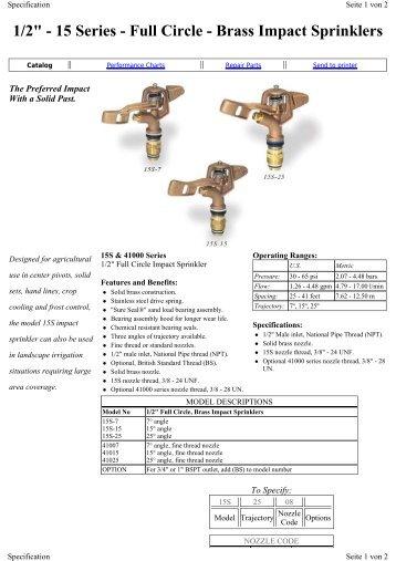 "1/2"" - 15 Series - Full Circle - Brass Impact Sprinklers - edentec.ch"