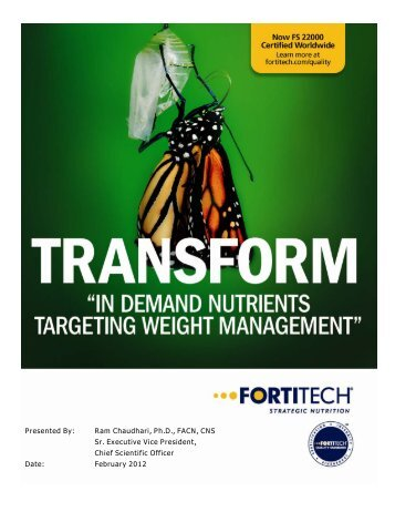 In Demand Nutrients Targeting Weight ... - Fortitech