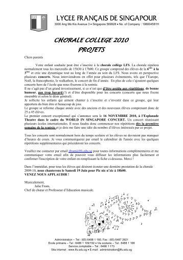 FICHE D'INSCRIPTION chorale 2010_ps - Lycée français de ...