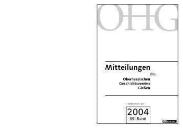 89. Band - Oberhessischer Geschichtsverein Gießen e. V.