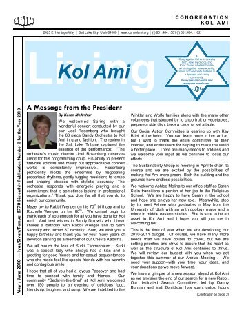 continued from page 1 - Congregation Kol Ami