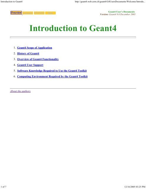 Introduction to Geant4 - Cern