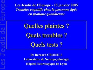 quels tests - Les Jeudis de l'Europe