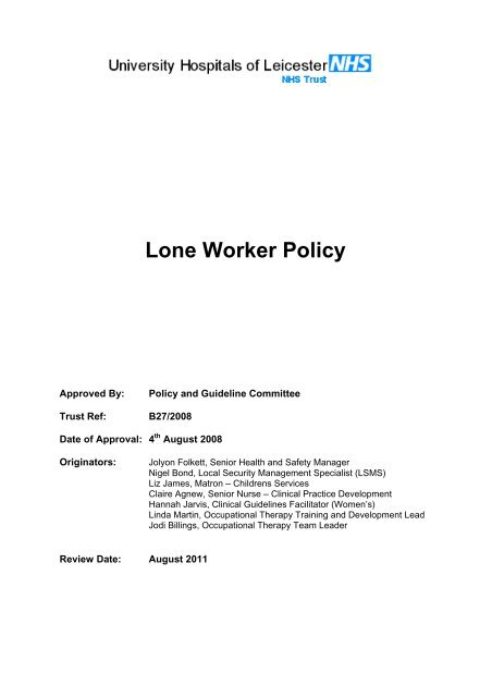 Lone Worker Policy Library University Hospitals Of Leicester Nhs