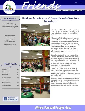 2011 2nd Quarter Newsletter - Friends of MI Animals Rescue