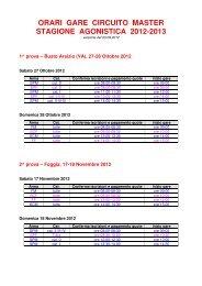 orari gare circuito master stagione agonistica 2012-2013