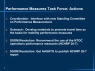 Performance Measures Task Force: Actions