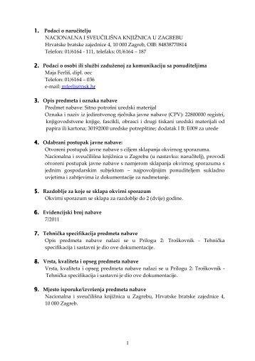 Sitno potrošni uredski materijal - NSK - Nacionalna i sveučilišna ...