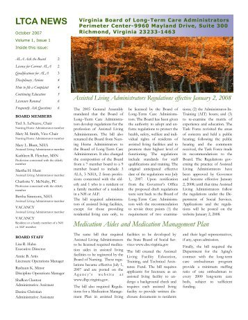 October 2007 Newsletter - Virginia Department of Health Professions