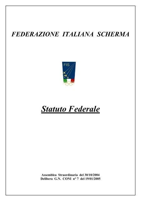 Federazione Italiana Scherma Calendario Gare.Statuto Della Federazione Italiana Scherma Fis Comitato