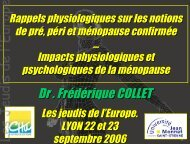 Ménopause en 2006 : rappels physiologiques - Les Jeudis de l'Europe