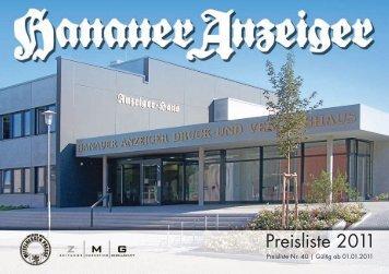 Preisliste 2011 - Hanauer Anzeiger