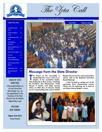 March 2013 - Zeta Phi Beta Sorority, Inc. - State Of New Jersey