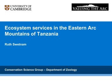 Ecosystem services in the Eastern Arc Mountains ... - Valuing the Arc