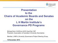University Governance in the HES - Australian Chairs of Academic ...