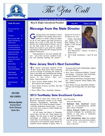 June 2013 - Zeta Phi Beta Sorority, Inc. - State Of New Jersey
