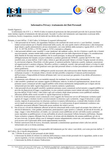 Informativa Privacy Genitori - Sandro Pertini