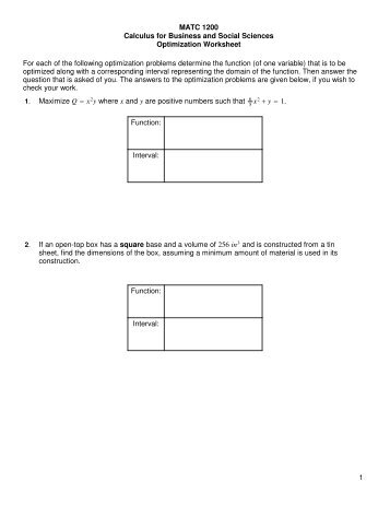 Worksheet on optimization and related rates - Johnkerl.org
