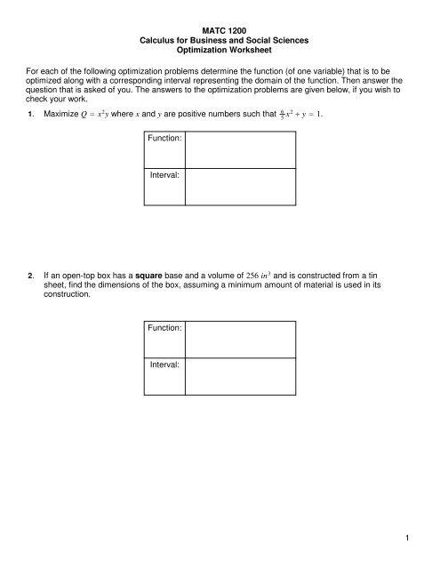 Worksheet #4 Optimization